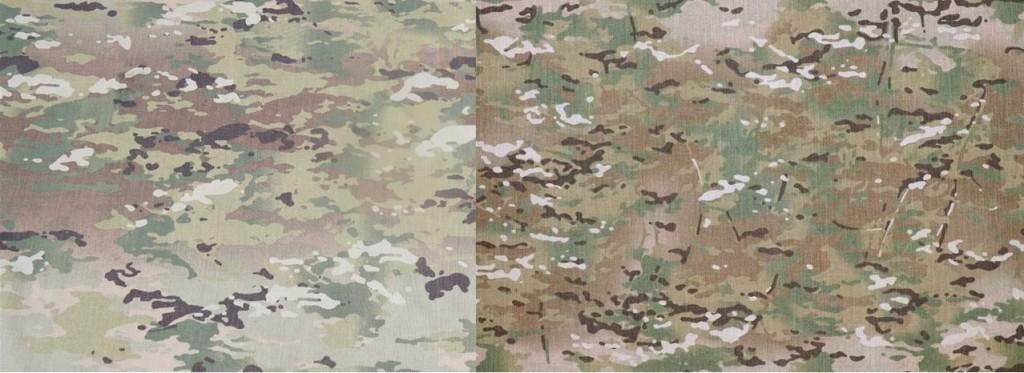 左: スコーピオンW2迷彩、右: マルチカム。 (出典: Soldier Systems Daily)