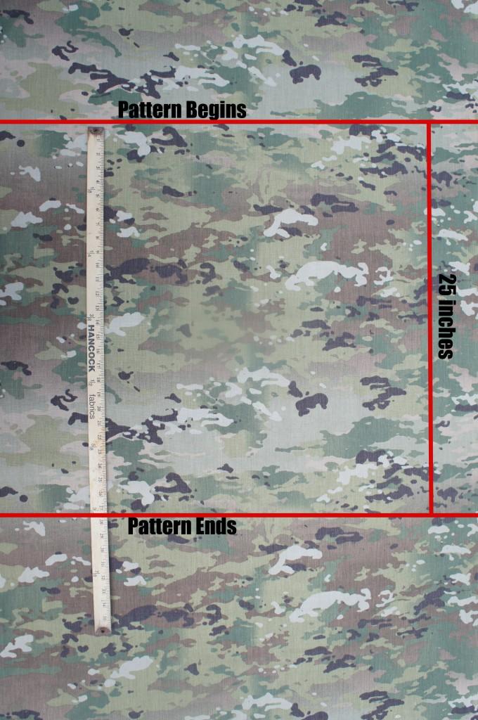 スコーピオンW2迷彩のパターンは幅60インチで、縦25インチごとにリピートします。一方マルチカムは幅約60インチで縦26インチごとにリピートします。 (出典: Soldier Systems Daily)